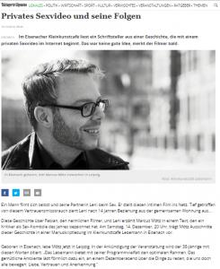 Ankündigung Thüringer Allgemeine - Marcus Mötz Lesung Eisenach